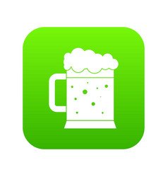 beer mug icon digital green vector image