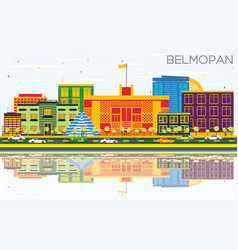Belmopan skyline with color buildings blue sky vector