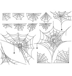Black spiders and different web isolated on white vector