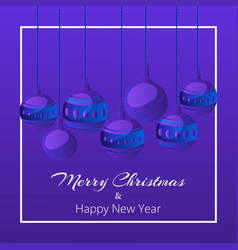 blue merry christmas balls on dark background vector image