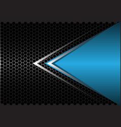 blue triangle silver arrow on black hexagon mesh vector image