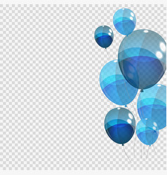 Bunche and group of blue glossy helium balloons vector