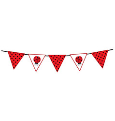 Bunting with ladybug and polka dot pattern vector