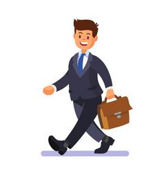 Businessman walking happy with briefcase vector