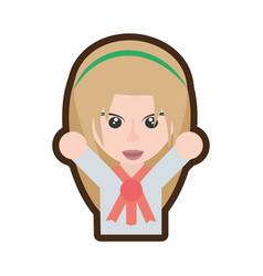 cartoon japanese girl student uniform vector image