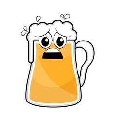 colored sad beer mug icon vector image