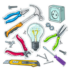 Colourful set of carpentry tools light bulb vector