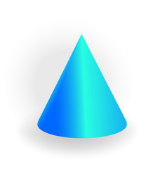 Cone - one 3d geometric shape with holographic vector
