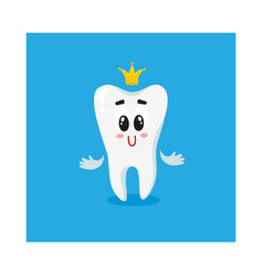 cute and happy shiny white tooth character with vector image