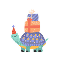 cute celebratory turtle carrying gift box vector image