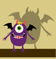 cyclops violet happy monster vector image