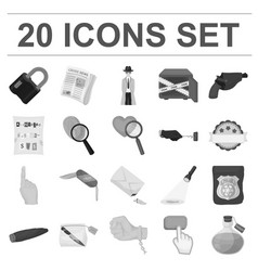 Detective agency monochrome icons in set vector