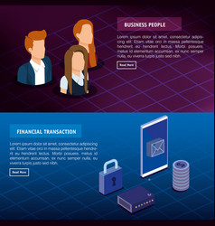 Digital technology with business people isometric vector