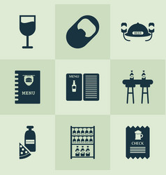 drink icons set with glassware opener pub book vector image