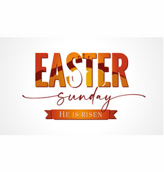 Easter sunday lettering with calvary and tomb vector