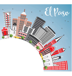 El paso usa skyline with gray buildings blue sky vector