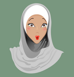 Emoticon muslim girl surprise vector