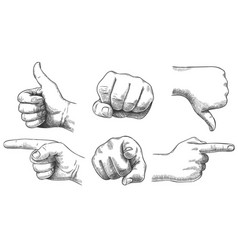 engraved hands gesture hand drawn like vector image