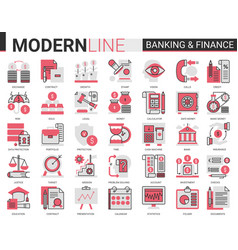 finance and banking complex flat line red black vector image
