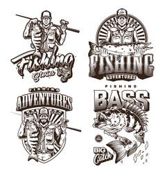Fishing monochrome vintage labels vector