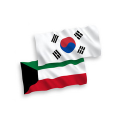 Flags south korea and kuwait on a white vector