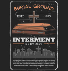 Funeral burial or interment service on cemetery vector