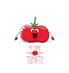 Funny cartoon cute red tomato isolated vector