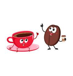 Funny coffee bean and espresso cup characters vector
