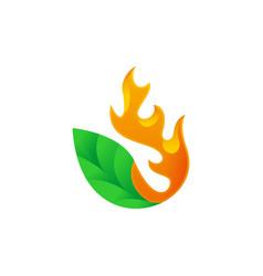 Green leaf fire flame logo vector