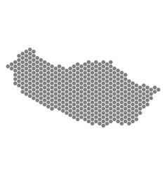 Grey hexagon portugal madeira island map vector