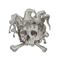 hand drawing skull a joker in a comic cap vector image