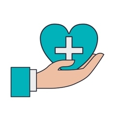 hand holding cross in heart vector image