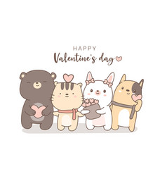 Happy valentines day with cute animal cartoon hand vector