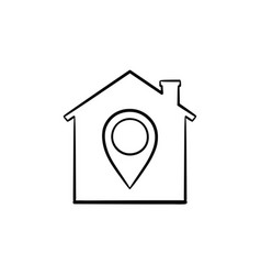 House with navigation mark hand drawn outline vector