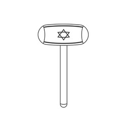 inflatable hammer with israel flag icon in black vector image