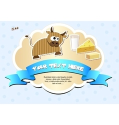 Label with cow milk cheese and butter vector