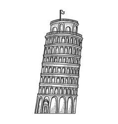 Leaning tower pisa sketch engraving vector