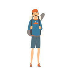 male tourist with backpack man going on summer vector image