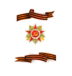 May 9 victory day george ribbons medal set vector