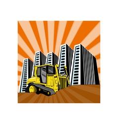 Mechanical Digger Excavator Retro vector image
