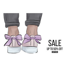 Modern sneakers with bow banner trendy vector