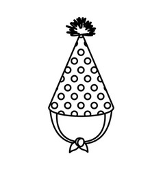Monochrome silhouette of party hat with circles vector