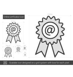Online certification line icon vector image