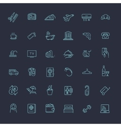 Outline web icon set - Hotel services vector image