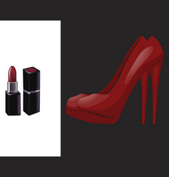 pair red shoe with high heel and red lipstick vector image
