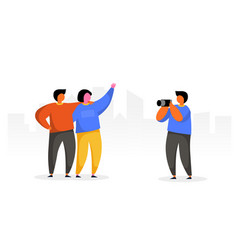 people group travel take photo with camera happy vector image