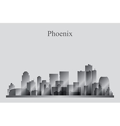 Phoenix city skyline silhouette in grayscale vector image
