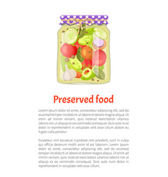 Pickled vegetable and spice mix jar and rustic lid vector
