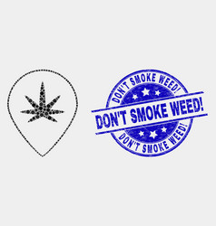 Pixel cannabis map marker icon and grunge vector