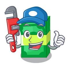 Plumber set money in packing bundles cartoon vector
